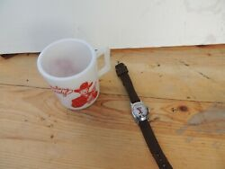 Lot Vintage Hopalong Cassidy Cowboy Wrist Watch Works Excellent And Milk Glass Cup
