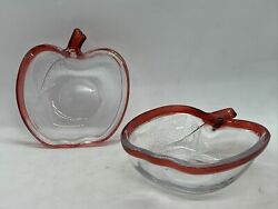 """2 Beautiful Collectible Blown Glass Apple Shaped Bowls With Ruby Red Rims 5"""""""