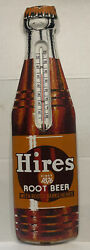 """Vintage 1950's Hires Root Beer Sign Embossed Thermometer Torpedo Sign 29""""x8"""""""