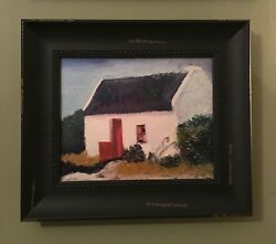 Ireland Thatched Roof Cottage 8x10 Oil Painting Canvas Framed Irish Wood Frame