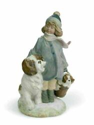 Lladro Retired 01012517 Winter Wind Girl With A Dog 01012517 Christmas New