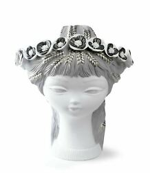 Lladro Retired Bucolic Head White And Silver 01007286
