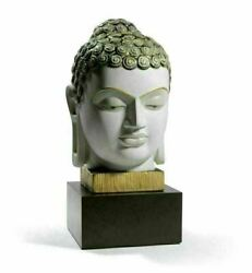 Lladro Retired Religious Buddha Ii Golden And Blue 01008435