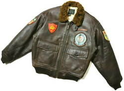Used avirex Boa Leather G-1 Jacket Patch Blood Chit Men's Size Ll From Japan