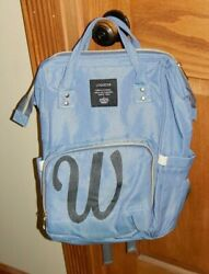 LEQUEEN Monogram W Mommy Maternity Nappy Diaper Bag Large Baby Backpack $14.99