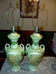 Pair Of Amazing Early Asian Oriental Ceramic/porcelain Table Lamps