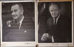 Huge Lyndon Johnson And Hubert Humphrey Political Presidential Campaign Posters