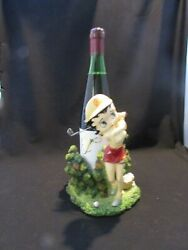 Rare Vintage Betty Boop Resin Wine Bottle Stand Holder Betty Is Playing Golf
