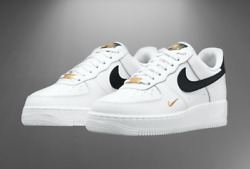 Nike Womenand039s Air Force 1 And03907 Ess Shoes White Black Gold Cz0270-102 Multi Size
