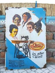 1920 Vintage Rare Ossa Alter Welt Sewing Machine Boos And Hahn Enamel Sign Germany