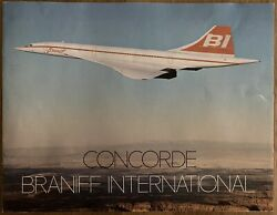 Braniff Airways Concorde 1979 Brochure B747 Cabin Crew Route Map Air France
