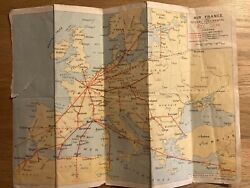 Air France Airlines 1936 Summer Europe Route Map Vintage Travel Worldwide