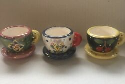 Mary Engelbreit 3 Miniature Cup And Saucer Decor Cherries Flowers Charming Euc