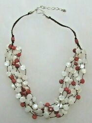 Dtr Jay King Sterling Silver Button Pearl Red Coral Multi-strand Necklace 19-22