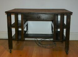 Antique Arts And Crafts Mission Oak Library Table/desk