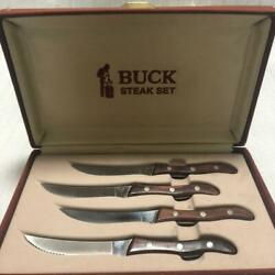 Buck Knife107 Steak Set Of 4 Steak Knife With Box Vintage Free Shipping By Dhl