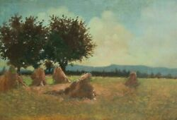 Old Oil Painting - Ancient Painting - Harvest, Landscape, Field, Summer