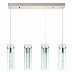 Modern Chandelier Satin Nickel With Dimmable Led Bulbs Premium Glass And Bubble