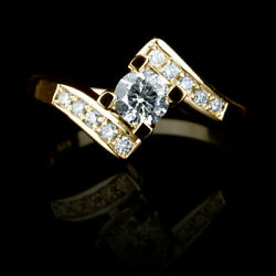 1 Ct Certified Round Cut W Side Stones Diamond 18k Yellow Gold Proposal Ring Nwt