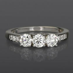 Genuine 1.2 Ct Round Triple Stones Accented Diamond 14k White Gold Promise Ring