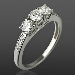 1.2 Carat Authentic 3 Round Stones And Accents Diamond 14k White Gold Wedding Ring