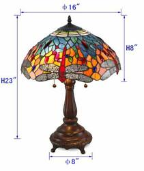 Stained Glass Style Red Dragonfly Table Lamp 2 Lights 16 Shade