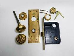 Antique Cylinder Eagle Mortise Lock W/knobs Plates Cylinder And Keys Yale And Towne