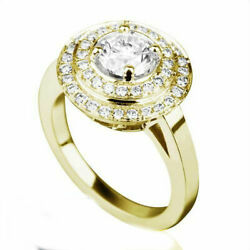 2.3 Ct Round Shaped With Side Stones Real Diamond 14k Yellow Gold Proposal Ring