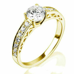 1.2 Ct Round Cut With Side Stones Natural Diamond 14k Yellow Gold Betrothal Ring