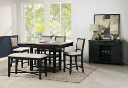 Black Rectangle Table Bench 4 Chairs 6pc Dining Set Storage Counter Height