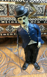 Antique Charlie Chaplin Tin Litho Iron Shoes Wind Up Toy Excellent Working