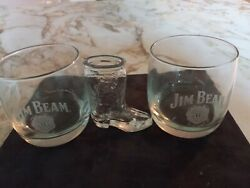 2 Jim Beam Whiskey Glasses With One Jim Beam Cowboy Boot Shot Glass Used