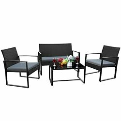 4 Pieces Patio Furniture Outdoor Garden With Glass Coffee Table Bistro Set