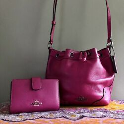 Coach Cranberry Baby Mickie Drawstring Bag F35363 And Nwt Matching Wallet Set
