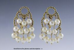 Nice Pair Of 14k Gold Rope Form And Dangling Pearl Chandelier Earrings