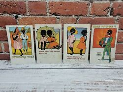 Early 1900s Black Americana Postcard Lot Of 4 Used