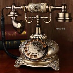 Rotary Dial Antique Telephone Old Fashioned Backlight Telephone Corded Landline