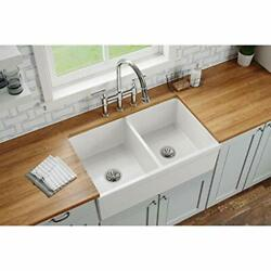Elkay Swuf32189wh Fireclay Equal Double Bowl Farmhouse Sink White