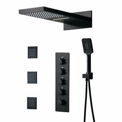Wall Mounted Waterfall Rain Shower System Set With 3 Body Sprays Handle Shower