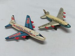 Vintage Tin Litho Toy Pan Am And Twa Airline Airplanes 1950's