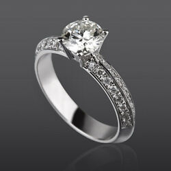 Diamond Ring Solitaire And Accents 14k White Gold Natural Round Women 1.37 Ct