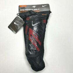 Nike Protegga Shield Black Red Shin Guard Pair Adult Large Removable Ankle NEW