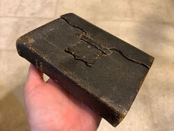 Mid 19th Century Sm Size Bible W Folding Flap Case Nice Condition 1864 W Id