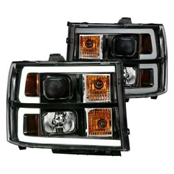 Anzo Projector Headlight Plank Style Black W/ Clear Lens Amber Fits Gmc 111482