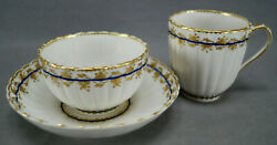 Derby Pattern 110 Gold Leaves And Cobalt Band Tea Coffee Cup Trio Circa 1782-1800