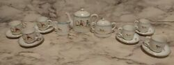 Vntg Childs Porcelain Tea Set Hand Painted Nippon Hoops Boy And Girl W/ Puppy Dogs