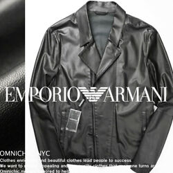 New Emporio Armani Lamb Leather Riders Jacket Men's Size 54 From Japan
