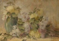 Antique Oil Painting Painting Signed Jakub Obrovsky Still Life Bouquet Flowers