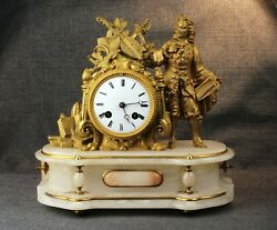 Antique French Gilt Marble Figurative Clock