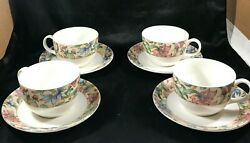 Set Of 4 Royal Doulton Everyday China Jacobean Teacups Saucers 8 Pc Total